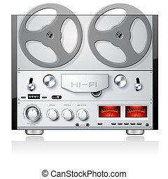 Vintage Hi-Fi analog stereo reel to reel tape deck player...