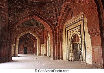 Qila-i-kuna Mosque, Purana Qila, New Delhi - Interior of...