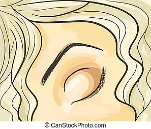 Part of face - Woman eye illustration. Eps 10 vector....