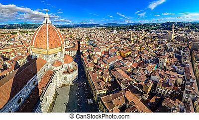 Panoramic view of Florence with Duomo and cupola