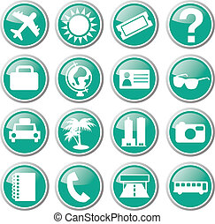 tourist travel icon set