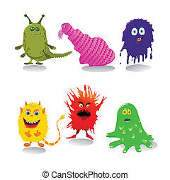 A set of cute cartoon monsters isolated on white background