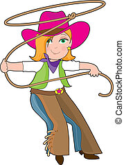 Cowgirl - A young girl is dressed like a cowgirl and...