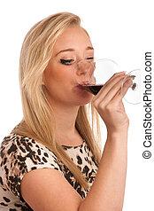 玻璃, 婦女, 年輕, 酒