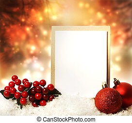 Christmas card with red ornaments - Blank Christmas card...