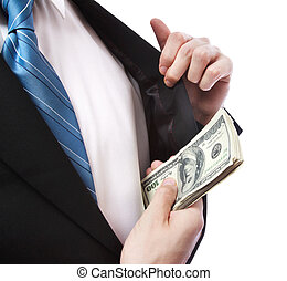 Business Man with Wad of Cash in his Jacket Pocket -...