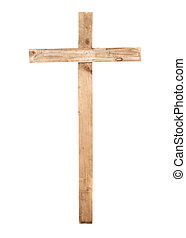 Upright wooden cross isolated on a white background.