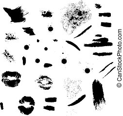Strokes, stains and lips imprints set
