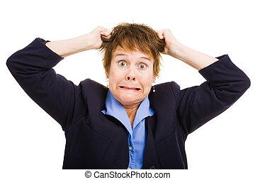 negócio, mulher, -, frustração