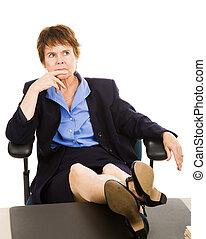 femme affaires, bureau, -, inquiété