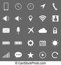 Mobile phone icons on gray background