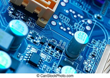 Electronics - electrical components on a computer mainboard