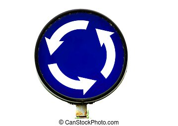 Roundabout traffic sign isolated on white