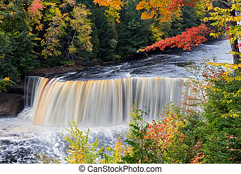 Michigans Tahquamenon Falls in Autumn - Tahquamenon Falls in...