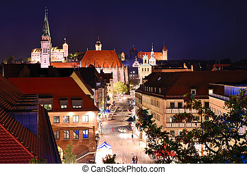 Nuremberg Skyline - Skyline of Nuremberg, Germany at night