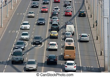 Traffic - Heavy traffic on a main road over a bridge