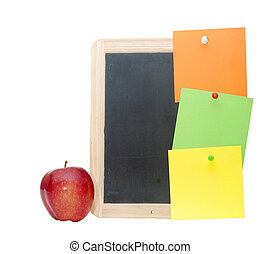 small wooden blank blackboard with colorful note isolated on white background