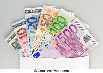 Envelope with Euro notes