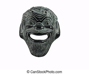 Comedy mask in greek theater isolated on white - Mask used...