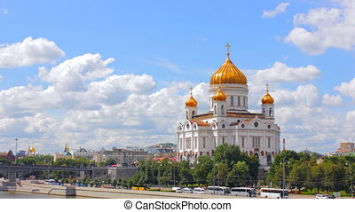 Cathedral of Christ the Saviour. Russia,Moscow time lapse