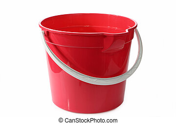 Bucket - A red bucket or pale on a white background