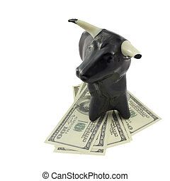 Bull Market  - Dollar currency notes with bull