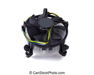 CPU Fan - Processor heatsink cooler fan on white background