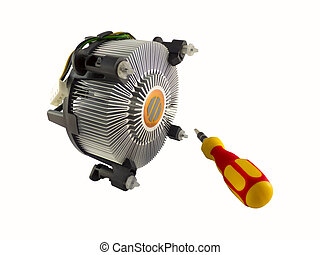 Processor heatsink cooler fan and screw-driver isolated on...