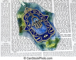 Hamsa kabala good luck charm on Talmud - Hamsa kabbalah good...