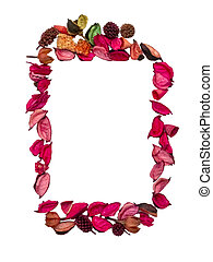 Frame made of dried flowers