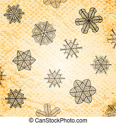 Vintage snowflakes - Vector vintage textured background with...