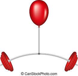 Red balloon lifting a heavy barbell