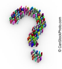 3d colorful people question mark sign symbol