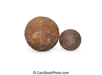 Cannon-Ball - Pair of ancient rusty cannon-balls on white...