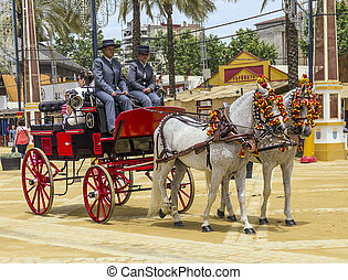 Carriage of horses - JEREZ DE LA FRONTERA, SPAIN-MAY 10:...