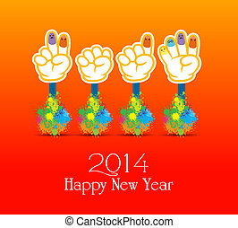 Happy new year 2014 colorful painti - happy new year 2014