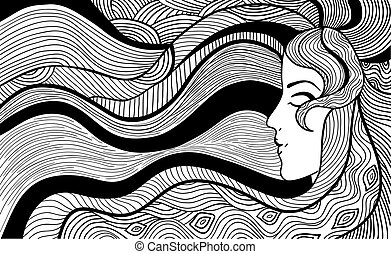 Black and white illustration - Hand drawn abstract vector...