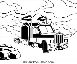 Semi truck - Illustration of semi trailer truck on cloudy...