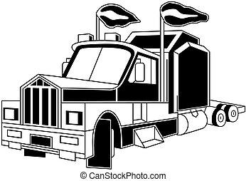 Semi truck - Illustration of semi trailer truck isolated on...