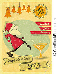 Retro New Years Card with Christmas Tree and Santa Claus...