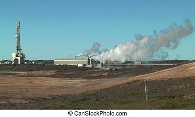 Geothermal power plant wide shot - Geothermal power plant at...