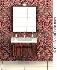 Wash bowl - Modern bathrom with red mosaic tiles and white...