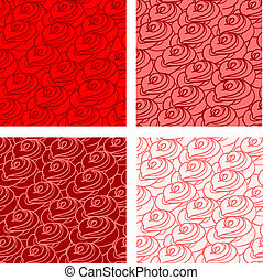 Stylized roses seamless set - Vector hand drawn seamless...