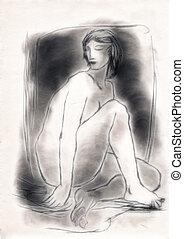 Sentado, desnudo, figura