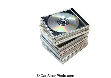 CD - Pile of CDs on white background