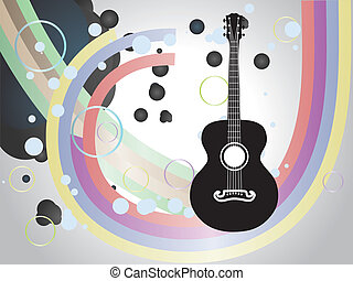 Background with acoustic guitar - Retro acoustic guitar six...