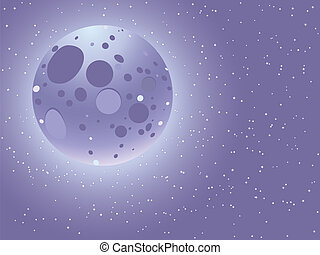 Cartoon starry sky - Cartoon night sky with moon over starry...