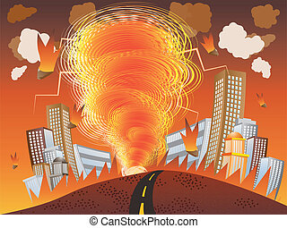 Fire tornado - Illustration of fire vortex, tornado with...