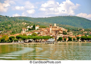 lakescape - view of the town of passignano seen from Lake...