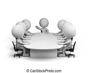 Says chief - Meeting in conference room. 3d image. White...